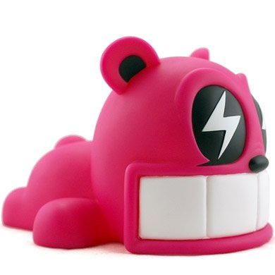 Reach Bear - Pink figure by Reach, produced by Kidrobot. Front view.