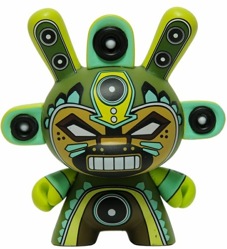 Minigod - Green figure by Marka27, produced by Kidrobot. Front view.