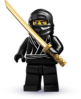 Ninja figure by Lego, produced by Lego. Front view.