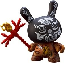 Black Xolotl figure by Izzie Ramirez, produced by Kidrobot. Front view.