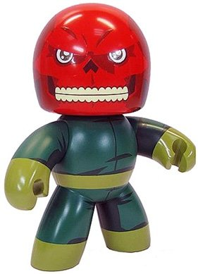 Red Skull figure, produced by Hasbro. Front view.