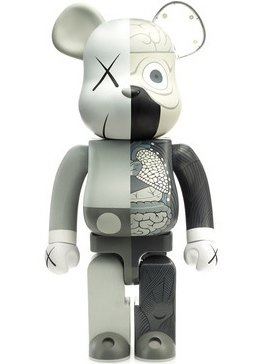 Dissected Companion Be@rbrick Mono - 1000% figure by Kaws, produced by Medicom Toy. Front view.