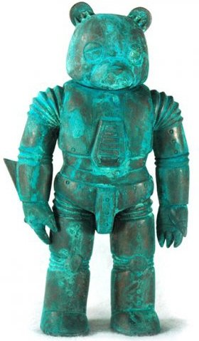 Mecha Sad Bear - Rusted (Copper) figure by Luke Chueh. Front view.