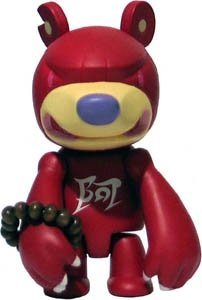 Knucklebear Qee Red Guardian figure by Touma, produced by Toy2R. Front view.