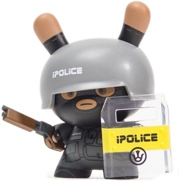 iPolice figure by Huck Gee, produced by Kidrobot. Front view.