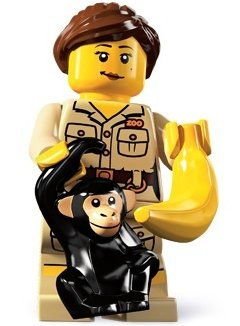 Zookeeper figure by Lego, produced by Lego. Front view.