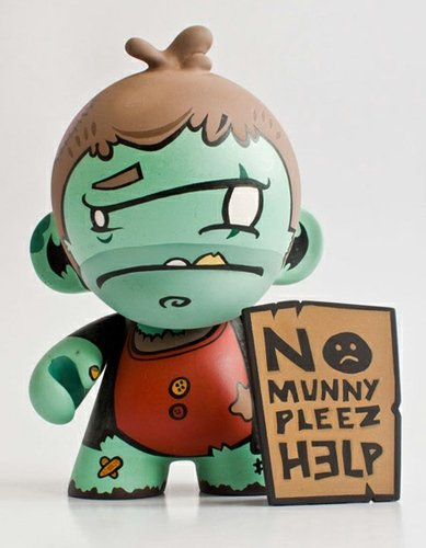 Hobo Needs Munny figure by Chad Lesch. Front view.