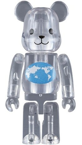 Earth Be@rbrick 100% figure, produced by Medicom Toy. Front view.