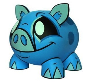 Joe Ledbetter Piggy Bank - Blue figure by Joe Ledbetter, produced by Play Imaginative. Front view.