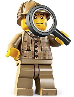Detective figure by Lego, produced by Lego. Front view.