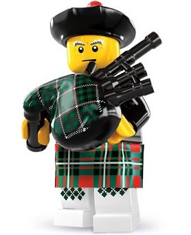 Bagpiper figure by Lego, produced by Lego. Front view.