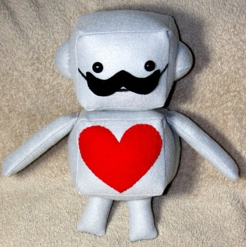 Mustache Robot Plush figure by Hey Killah. Front view.