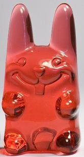 Easter Ungummy Bunny - watery red figure by Muffinman. Front view.