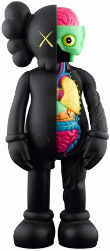 Dissected Companion - Black figure by Kaws, produced by Medicom Toy. Front view.