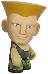 Guile - Green figure by Capcom, produced by Kidrobot X Capcom. Front view.