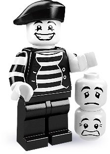 Mime figure by Lego, produced by Lego. Front view.