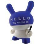 HELLO MY NAME IS figure by Huck Gee, produced by Kidrobot. Front view.