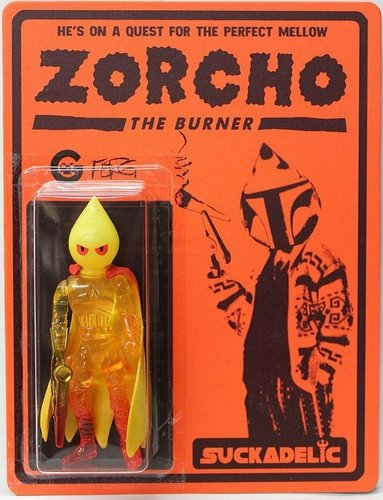 Zorcho the Burner figure by Ferg, produced by Suckadelic. Front view.