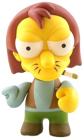 Herman Larson figure by Matt Groening, produced by Kidrobot. Front view.