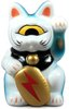 Mini Fortune Cat - White/Blue w/ Lightning Bolt