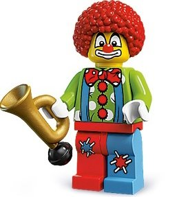 Circus Clown figure by Lego, produced by Lego. Front view.