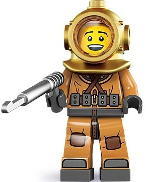 Diver figure by Lego, produced by Lego. Front view.