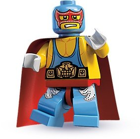 Super Wrestler figure by Lego, produced by Lego. Front view.