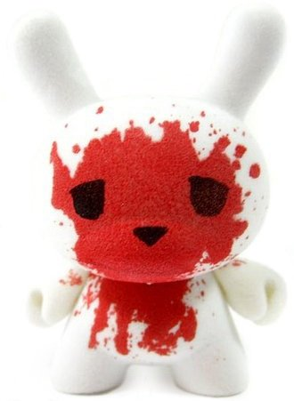 Blood and Fuzz  figure by Luke Chueh, produced by Kidrobot. Front view.
