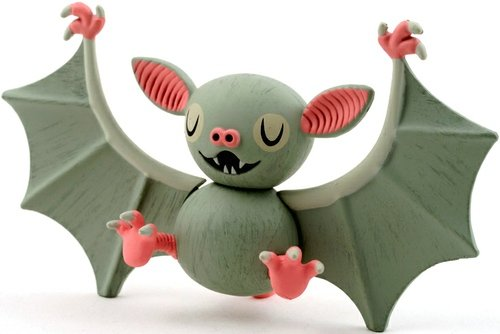 Bat figure by Amanda Visell, produced by Kidrobot. Front view.