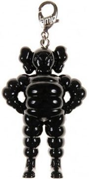 Chum Keychain - Black figure by Kaws, produced by Original Fake. Front view.
