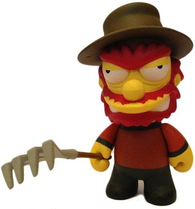 Freddy Krueger Willy figure by Matt Groening, produced by Kidrobot. Front view.