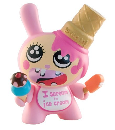 Crazy Ice Cream Dunny figure by Esther Kim, produced by Kidrobot. Front view.