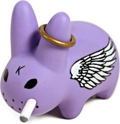 Smorkin Labbit Wings (Angel) figure by Frank Kozik, produced by Kidrobot. Front view.