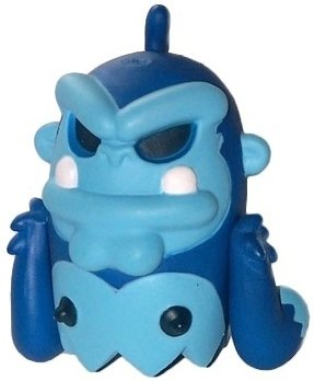Ape BoOoya - Blue figure by Jeremy Madl (Mad), produced by Kidrobot. Front view.