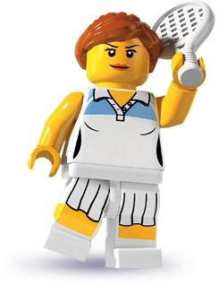 Tennis Player figure by Lego, produced by Lego. Front view.
