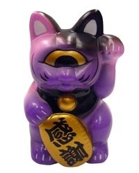 Fortune Cat - Pink Purple Black figure, produced by Realxhead. Front view.