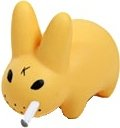 Smorkin Labbit - Honey figure by Frank Kozik, produced by Kidrobot. Front view.