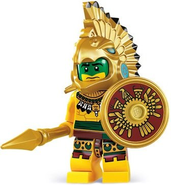 Aztec Warrior figure by Lego, produced by Lego. Front view.