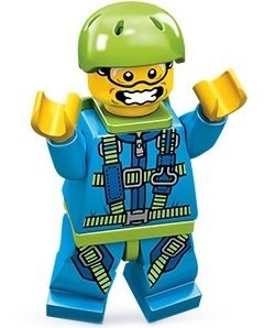 Skydiver figure by Lego, produced by Lego. Front view.