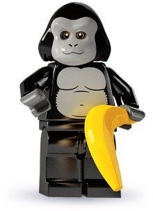 Gorilla Suit Guy figure by Lego, produced by Lego. Front view.