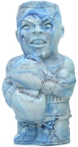 Lil Punchie - Blue Marbled figure by Paul Lepree, produced by Ultra Pop. Front view.