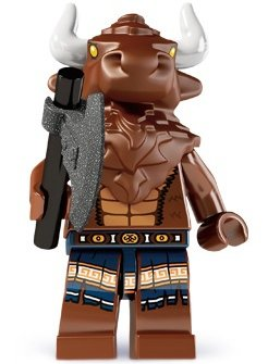 Minotaur figure by Lego, produced by Lego. Front view.