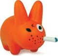 Orange Labbit figure by Frank Kozik, produced by Kidrobot. Front view.