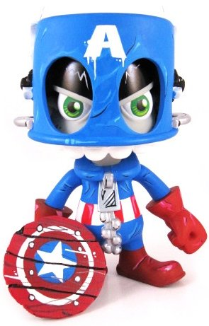 Captain America Mork figure by Maloone. Front view.