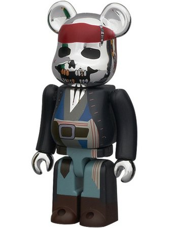 Captain Jack Sparrow - Horror Be@rbrick Series 22 figure, produced by Medicom Toy. Front view.