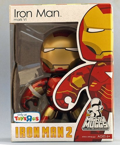 Iron Man (Mark VI) figure, produced by Hasbro. Front view.