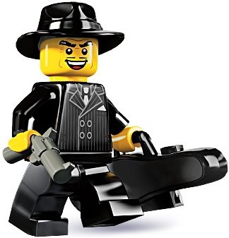 Gangster figure by Lego, produced by Lego. Front view.