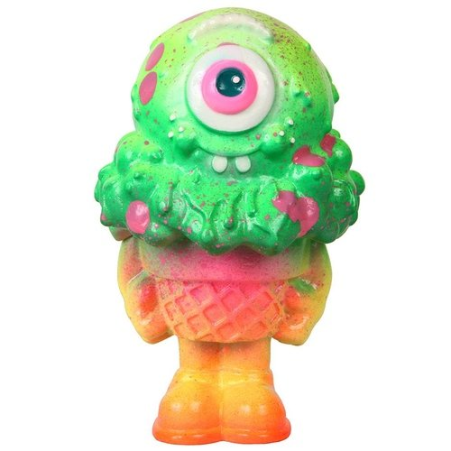 Watermelon Sunset - Mister Melty figure by Buff Monster. Front view.