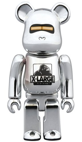XLARGE(R) × HAJIME SORAYAMA SILVER BE@RBRICK 100% figure, produced by Medicom Toy. Front view.