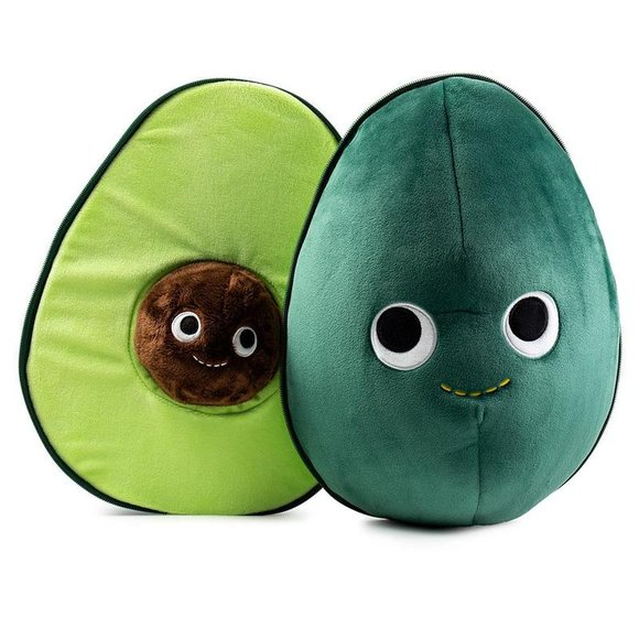 Yummy World Large Eva the Avocado Plush figure, produced by Kidrobot. Front view.